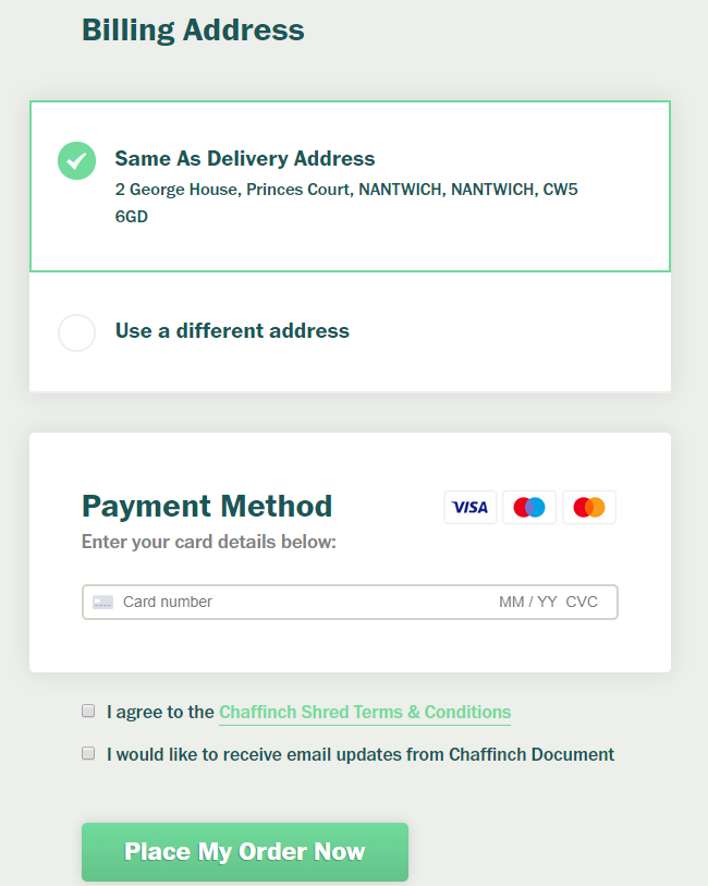 Ordering online - Payment