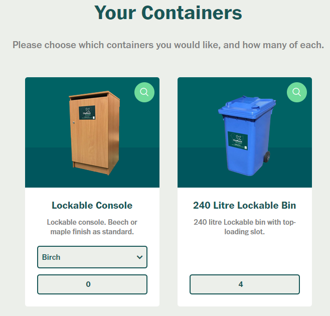 Ordering online - Choose your containers